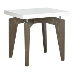 Safavieh - Josef Lacquer End Table - The smooth white lacquer top of the contemporary Joseph end table appears to float on metal posts that connect it to dark brown wood grained legs. Graphic and sleek, the surface of this end table is easy to clean and great for entertaining.