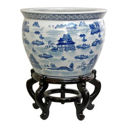 "Oriental Furniture - 14"" Landscape Blue & White Porcelain Fishbowl - A pleasant oriental landscape design with mountain pagoda accents. Glazed in fine Ming blue and white, the 14 inch diameter fishbowl is a popular size, great for displaying small indoor trees, potted plants, as well as dry or silk plants. No drainage hole, so live plants must be removed for watering. Note that the outside lip of the bowl is 14"" in diameter; the opening and the base are smaller. Quality vitreous heavy porcelain."