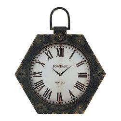 Paragon Decor - Antique Clock - Clock features an aged black finish