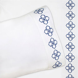"""Jonathan Adler - Jonathan Adler Bedding Hollywood Navy Sheet Set - Jonathan Adler presents colorful, bold designs for the happy and joyous interior. The classic white sheet set gets a contemporary makeover as a mod floral stitch is embroidered in navy to accent the flat sheet and pillowcases. Thanks to 400-thread-count 100% cotton percale, it""""��_�s also wonderfully comfortable. Set includes fitted sheet, flat sheet and pillow case(s), complete the look with coordinating duvet cover and euro shams. Machine wash. Jonathan Adler bedding is final sale. Twin fits 17"""" mattress and has 1 standard pillow case.. Full/Queen sheet set includes: 1 flat sheet, 1 fitted sheet for 17"""" mattress, 2 standard pillowcases. King sheet set includes: 1 flat sheet, 1 fitted sheet for 17"""" mattress, 2 king pillowcases."""