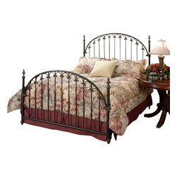 Hillsdale Furniture - Hillsdale Kirkwell Panel Bed - Queen - A classic style features a traditional arch design with straight spindles that are connected by decorative solid castings. Finished in brushed bronze, the cooper base coat is antiqued by a rich deep brown top coat. Fully welded construction featuring heavy gauge round tubing, solid wire, and aluminum castings.