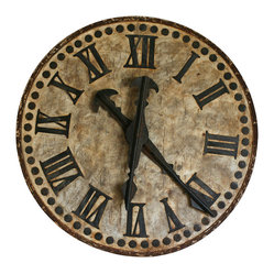 Kathy Kuo Home - French Country Antique Brugge Town Decorative Large Clock - Ring in luxe rusticity with this decorative clock face in Roman numerals. Invoke the peaceful, yet chic, imagery of the French countryside wherever you reside. The time is now to add this piece to your home decor.