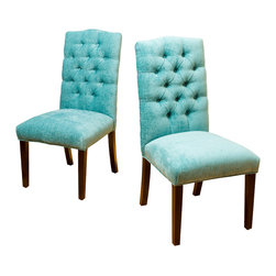 Great Deal Furniture - Clark Soft Fabric Dining Chairs (Set of 2), Teal Green - With a tufted backrest and crown-shaped top, this set of two dining chairs will enhance any room in your home. Attention to detailing and design make this chair stand out from any other. With  its soft fabric, comfortable tufted backrest and padded seat this chair holds an elegant form with no cost to comfort.