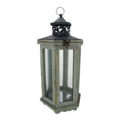 Rustic Distressed Finish Gray Lantern Candle Holder Hexagon - This beautiful metal, resin and ...