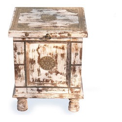 "Everybody's Ayurveda - Distressed Ivory Side Accent Table - Rustic Ivory SideTable. Distressed Ivory Finish. Made in India. Top opens to provide handy storage. 15"" Wide x 14"" Deep x 19"" Tall. Hand painted with a distressed ivory finish, thi is a perfect side or end table. Accented with drawer and shelf for storage."