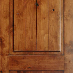 Mediterranean Doors - Solid Wood Knotty Alder Arch 2-panel Door - Here is a rustic Knotty Alder door featuring V-grooves for an authentic plank appearance. Knotty Alder wood provides a lot of character including knots, mineral streaks, and wormholes.