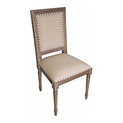 Kathy Kuo Home - Brittany French Country Grey Wash Wood Side Chair - Pair - Best by the pair, our Directoire style side chairs bring quiet sophistication to your dining space. Finished in a soft grey wash with a pale olive cotton back and cushioned seat cover, these decorative chairs look right at home with any wood table. Complete your demure French country dining room or parlor with a pair of elegant carved wood side chairs.