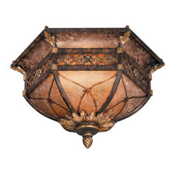 Fine Art Lamps - Villa 1919 Flush Mount, 182145ST - Bring the gilded glory of the Edwardian era to a special setting in your home. Trimmed mica panels, gilded leaf and floral accents and a rich umber finish all combine to make this flush mount fixture remarkable.