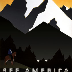 See America Welcome to Montana Print - See America Welcome to Montana. This poster was created for United States Travel Bureau promoting travel to Montana, showing mountain scene with horse and ride, by artist, Martin Weitzman. First published by the NYC : Works Progress Administration Federal Art Project, [between 1936 and 1939]
