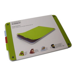 Joseph Joseph - Joseph Joseph Food Station Chopping Mats - Its 3 removable chopping mats provide large, double-sided cutting areas on which to work and their flexibility makes it easy to guide chopping food into a pan or waste into a bin. Their strong color coding helps reduce the likelihood of cross-contamination and when located on the glass base, they create a secure non-slip surface on which to cut. With the mats removed, the toughened glass base provides an additional hygienic surface for food preparation.