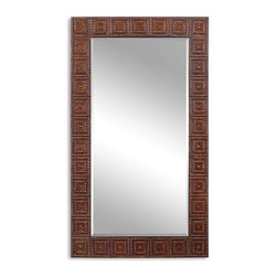 Uttermost - Adel Burnished Copper Bronze Rectangular Mirror - This oversized mirror features a frame made of hand forged and hand hammered metal with a lightly distressed, burnished bronze finish with gold highlights. Mirror has a generous 1 1/4 inch bevel.