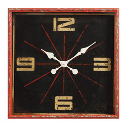 Distressed Metal Clock - Nostalgic for the classic look of the 1950s? This Distressed Metal Clock brings that look back to life, with the added passage of time. Crafted from artfully distressed metal, it harkens back to a time when life seemed a lot simpler.
