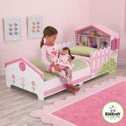 KidKraft Dollhouse Toddler Bed - Smooth the transition from a crib to toddler bed with the KidKraft Dollhouse Toddler Bed. This adorable bed features a bookshelf headboard, bed rails styled as picket fencing, and windows with shutters that open and close. Low to the ground for your child's safety, this bed features detailed artwork on every side, with painted flowers, shrubs, and paving stones.About KidKraftKidKraft is a leading creator, manufacturer, and distributor of children's furniture, toy, gift and room accessory items. KidKraft's headquarters in Dallas, Texas, serves as the nerve center for the company's design, operations and distribution networks. With the company mission emphasizing quality, design, dependability and competitive pricing, KidKraft has consistently experienced double-digit growth. It's a name parents can trust for high-quality, safe, innovative children's toys and furniture.