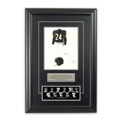 """Heritage Sports Art - Original art of the NFL 1960 Oakland Raiders uniform - This beautifully framed piece features an original piece of watercolor artwork glass-framed in an attractive two inch wide black resin frame with a double mat. The outer dimensions of the framed piece are approximately 17"""" wide x 24.5"""" high, although the exact size will vary according to the size of the original piece of art. At the core of the framed piece is the actual piece of original artwork as painted by the artist on textured 100% rag, water-marked watercolor paper. In many cases the original artwork has handwritten notes in pencil from the artist. Simply put, this is beautiful, one-of-a-kind artwork. The outer mat is a rich textured black acid-free mat with a decorative inset white v-groove, while the inner mat is a complimentary colored acid-free mat reflecting one of the team's primary colors. The image of this framed piece shows the mat color that we use (Silver). Beneath the artwork is a silver plate with black text describing the original artwork. The text for this piece will read: This original, one-of-a-kind watercolor painting of the 1960 Oakland Raiders uniform is the original artwork that was used in the creation of this Oakland Raiders uniform evolution print and tens of thousands of other Oakland Raiders products that have been sold across North America. This original piece of art was painted by artist Tino Paolini for Maple Leaf Productions Ltd. Beneath the silver plate is a 3"""" x 9"""" reproduction of a well known, best-selling print that celebrates the history of the team. The print beautifully illustrates the chronological evolution of the team's uniform and shows you how the original art was used in the creation of this print. If you look closely, you will see that the print features the actual artwork being offered for sale. The piece is framed with an extremely high quality framing glass. We have used this glass style for many years with excellent results. We package """