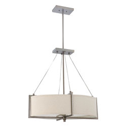 Nuvo Lighting - Portia Four Light Oval Pendant With Khaki Fabric Shade In Hazel Bronze Finish - Portia - 4 Light Oval Pendant w/ Khaki Fabric Shade - (4) 13w GU24 Lamps Included