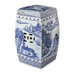 Blue and White Canton Garden Stool - This blue and white garden stool in a square shape with a lovely landscape motif is quite elegant.