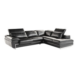J&M Furniture - Oregon II Black Italian Leather Right Hand Facing Sectional Sofa - Available in right hand facing chaise, the Oregon II Black Italian Leather Right Hand Facing Sectional Sofa with top grain genuine Italian leather (all no splits) offers built in lumbar support cushions for unmatched comfort and adjustable head rest with ratchet mechanism. One seat features adjustable depth-as shown. Fixed seats and lumbar support cushions backs have high density foam to give you extra comfort and support. Features: