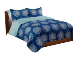 Pem America - Indigo Medallion Twin Quilt with Pillow Sham - Large silver and white medallions on a blue background in a bandana style pattern make a great coordinate to your room. Includes 1 twin size quilt 66x86 inches and 1 pillow sham 20x26 inches. 100% microfiber polyester face and reverse.  Filled with 50% cotton / 50% polyester. Machine washable.