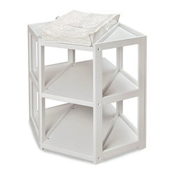 Badger Basket - White Diaper Corner Changing Table - An innovative and unique angle on changing tables installed on the corner space in Babys nursery! The Diaper Corner allows you to change your infant with feet pointing towards you - which is a more comfortable and natural position. Also includes a safety strap and one white, terry cloth changing pad cover. Table is made with wood, wood composites, and veneers. All paints and finishes are non-toxic. It can be used with children weighing up to 30 lbs. (13.6 kg).