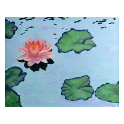 """Vivian Stearns-Kohler/Etoile Creations - Oil Painting - """"Lotus Blossom"""" - Lotus blossom in shades of pink and lavender floats among lily pads in hues of green and purple. Inspired by Monet. Original oil painting is framed (teal wood frame)."""