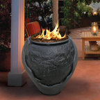 California Outdoor Concepts - Lapaz Waterfall Fire Pit - Water and flame come together to create this feature that illuminates the area with light and sound as the water gurgles and splashes just as the flames dance.
