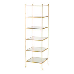 Currey & Company - Narrow Delano Etagere - The Delano Collection pays homage to decorator Billy Baldwin with etageres and occasional tables. With a gold leaf frame and glass shelves, the Delano etagere is an elegant place to display precious collections and books. Inspired by Mr. Baldwins Porter etagere, the Delano is classic and will always be au courant. Glass shelves compliment the gold leaf minimal frame. The solid bar frame is accentuated with an abstract detail in the foot.