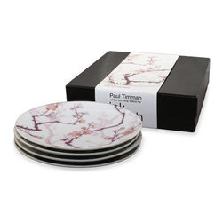 "InkDish - Cherry Ink 4 Side Plates Gift Set - Features: -Made from porcelain. -Eco-friendly. -Traditional cherry-blossom pattern. -Uses the sumi style of Japanese Tattooing. -Microwave and dishwasher safe. -Dimensions: 2.5"" H x 8.5"" W x 8.5"" D."