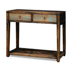 """China Furniture and Arts - Elmwood Vintage Console Table - With a pleasingly simple silhouette, this vintage Elmwood console table makes an elegant addition to any room. Perfect for displaying decorative objects in the foyer, hallway or living room. The lower shelf can also be used for display purposes. The two drawers, interiors measuring 15.75""""W x 12.5""""D x 4.5""""H, provide storage space perfect for a variety of small items. It is one-of-a-kind item to collect. Distressed espresso finish, with traces of blue finish on the drawers. Fully assembled."""