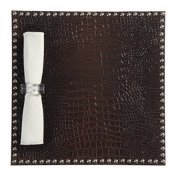 Z Gallerie - Faux Croc Placemat - Set of 4 - Elegantly framed in a brocade of polished silver studs, the rich brown croc pattern will cushion sleek surfaces and instill your dining room with a parlor-like ambiance. Sold as a set of four.