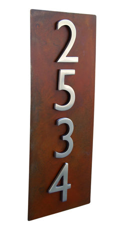 """Urban Mettle - 20""""x8"""" Address Plaque - Rust, Vertical - Welcome Home. This gorgeous wall plaque adds flair and style to your home with rustic metal and modern aluminum street numbers."""