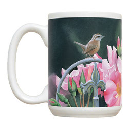 665-Wren & Pink Flowers Mug - 15 oz. Ceramic Mug. Dishwasher and microwave safe It has a large handle that's easy to hold.  Makes a great gift!