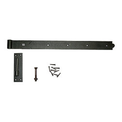 Renovators Supply - Door Hinges Black Wrought Iron Pintle Door Hinge 36'' - Surface Mount Pintle Hinge: Used for doors & shutters the pintle is affixed to a plate allowing for easy surface mounting. The accompanying strap has a curled barrel & can easily be removed from the pintle plate making removing doors or shutters that much easier. Crafted of Wrought Iron this hinge is a fabulous detail for that Old Colonial charm. Our exclusive RSF coating protects this item for years to come. Screws & carriage bolt for strap & pintle plate included. Length 36 inches.