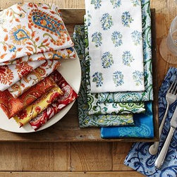 """Paisley Block-Print Dinner Napkin, 20"""", Set of 6, Warm - Following the ancient tradition of woodblock printing, the eye-catching patterns on our napkins are made by cutting blocks of wood into the desired shape, dipping them into ink and pressing them onto the fabric. Each set includes a variety of designs, and no two sets are exactly alike. 20"""" square Woven of pure cotton. Set of 6. Monogramming is available at an additional charge. Monogram is 1.5 inches high and will be placed at one corner of each napkin. Machine wash. Imported."""