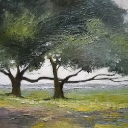 Live Oaks  (Original) by Carol Schiff - I was fascinated by the way these live oaks seemed to be embracing each other, with their long intertwined branches.
