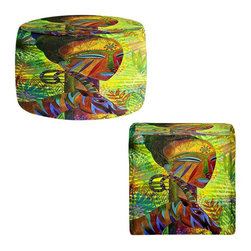 DiaNoche Designs - Ottoman Foot Stool by Jennifer Baird - African Queens - Lightweight, artistic, bean bag style Ottomans.  Coming in 2 squares sizes and 1 round, you now have a unique place put rest your legs or tush after a long day!. Artist print on all sides. Dye Sublimation printing adheres the ink to the material for long life and durability. Printed top, khaki colored bottom, Machine Washable, Product may vary slightly from image.