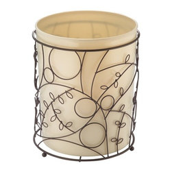 "Twigz Garbage Can Vanilla/Bronze - Twigz Garbage Can features bronze metal with leaf and branch design. Includes removable vanilla colored can.  8"" x 8"" x 10"""