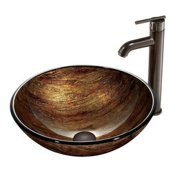 Vigo - Amber Sunset Vessel Sink in Multicolor with Oil Rubbed Bronze Faucet - The VIGO Amber Sunset Above the Counter Round Tempered Glass Vessel Sink in Multicolor brings the elegance of a sunset into your home, no matter what time of day. Coupled with an oil-rubbed bronze faucet, this sink brings a distinguished elegance into your bathroom.