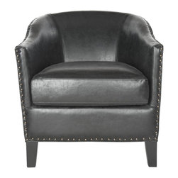 Safavieh - Romana Club Chair - A transitional update of the classic Romana chair, the antique black Romana club chair is brimming with sophistication and curves. Artfully upholstered in PU leather, this comfortable chair is detailed with brass nailhead trim and black birch legs.