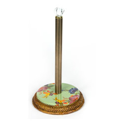 Flower Market Enamel Paper Towel Holder - Green | MacKenzie-Childs - Cheer up your kitchen! Stainless steel center post, glass finial, and enamel base. Hand-woven bamboo.