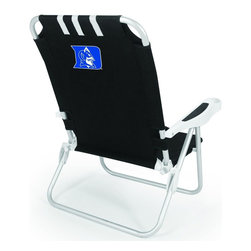 "Picnic Time - Duke University Monaco Beach Chair Black - The Monaco Beach Chair is the lightweight, portable chair that provides comfortable seating on the go. It features a 34"" reclining seat back with a 19.5"" seat, and sits 11"" off the ground. Made of durable polyester on an aluminum frame, the Monaco Beach Chair features six chair back positions and an integrated cup holder in the armrest. Convenient backpack straps free your hands so you can carry other items to your destination. Rest and relaxation come easy in the Monaco Beach Chair!; College Name: Duke University; Mascot: BlueDevils; Decoration: Digital Print"