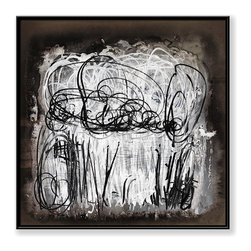 """CHC Art, Inc - Doodle Dash, 30""""x30"""", Hand Embellished Giclee - The long brushstrokes in contrasting tones against a dark background, are painted partly over again. This alternation between the visible and the hidden has been interpreted as a struggle between memory and oblivion.- Hand Embellished Giclee.- Black floater frame.- Ready to hang.- Frame adds 1.75"""" to each dimension.- Made in the USA."""