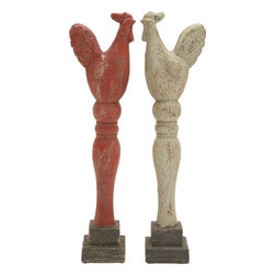 Benzara - Classic Rooster Painted in Red and White Hues - Set of 2 - With an elevated position, these roosters add pastoral attributes to your decor. You can stow these rustic roosters in your porch, along the patio or in the living room to make them look idyllic and bucolic. The rustic attributes provide a traditional demeanor to your personal space. They are positioned on a black color pedestal that offers added stability. Any uninspiring achromatic wall can be decked with this dazzling decorative wall decor. These birds have a vintage appeal and add liveliness to your decor. An excellent gifting item, you may gift these roosters to anyone who loves the country side or has a penchant for antique-looking items. The roosters are painted in red and white hues to blend well with any kind of set up. These roosters are crafted with country charm. Made using durable material, they ensure long shelf lives.