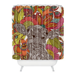 DENY Designs - Valentina Ramos Arabella And The Flowers Shower Curtain - Who says bathrooms can't be fun? To get the most bang for your buck, start with an artistic, inventive shower curtain. We've got endless options that will really make your bathroom pop. Heck, your guests may start spending a little extra time in there because of it!