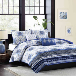 ID-Intelligent Designs - Intelligent Design Nicole 5-piece Coverlet Set - The Nicole coverlet set will bring an elegant look to your bedroom. Varying blue and gray prints run along the bottom,and a dark blue border outlines the coverlet creating dimension and depth.