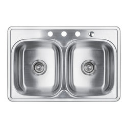 "AKDY - AKDY 8"" Depth AG-ZT3322D084 Stainless Steel Double Bowl Top Mount Sink Kit, With - Along with its classically angled corners and gently curving faucet deck, the AKDY sink offers innovative technology for quiet performance. The stainless-steel double basin features an engineered sound-absorption system that significantly reduces disposal and dishwashing noise for a quieter kitchen environment. A raised outer rim helps keep your counter dry."