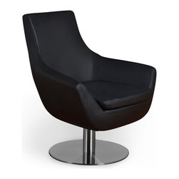 Iconic Lounge - The Iconic Lounge sports injection-molded polyurethane foam over an internal steel frame with a padded seat cushion, stationary chrome pedestal, and black leather upholstery. We love this chair as a prime media viewing seat, fit for the cultural icon outside of the screen.