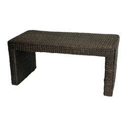 Oriental Unlimted - Eco-Friendly Rush Grass Coffee Table (Black) - Color: BlackWell crafted from attractive, eco-friendly rush grass woven on a sturdy wood frame. A simple and spare classic design. This is a great table to put in front of a small sofa, couch, or futon. There's room for snacks when you're snacking, and it's the right height to put your feet up, and, no need to worry about scratching the top. Well crafted from woven rush grass on a wood frame. The colored finishes are stains, so no flaking paint. Simple, spare design, with classic coffee table dimensions. Easily moved up and down stairs when relocating. Matching end tables and ottoman available. Rush grass is an abundant natural fiber found in many places in Asia. As rattan and wicker have become more and more difficult to find, furniture manufacturers have been gratified to find that rush grass makes an appealing surface for woven furniture and decor. Shown in Black. No assembly required. 18 in. L x 36.5 in. W x 16.5 in. H