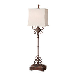 Uttermost - Uttermost 29533-1 Rectangle Semi Bell Shaded Lamp from the Cubero Collection - Uttermost 29533-1 Billy Moon Cubero LampDistressed rust brown finish with black undertones. The rectangle, semi bell shade is an off white linen textile with natural slubbing.Features: