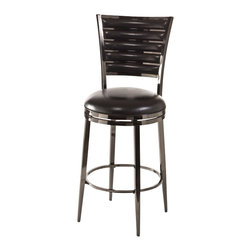 Hillsdale - Hillsdale Rouen Swivel Bar Stool in Black Nickel - Hillsdale - Bar Stools - 5319830 - High level luster and modern detailing give the Rouen Stool a sense of luxury with a sensible price tag. Constructed of metal in either a black nickel or shiny nickel finish the Rouen features a back pattern of alternating bars of metal and a cushion PU seat in matching black and ivory hues. The Rouen boasts a 360-degree swivel stool and is available in bar and counter heights. Some assembly required.