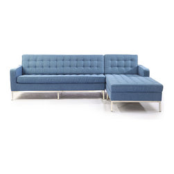 """Kardiel Florence Knoll Style Right Sectional, Azure Houndstooth Twill - This stunning reproduction of the Florence Knoll 1956 """"Sectional Series"""" is a Kardiel Signature reproduction.  Each piece is Handcrafted and features the original hardwood box frame, upholstered with Top Grain European Aniline Soft Leather. You will not find a higher quality reproduction of the Florence Series. All reproduction details have been taken into consideration, from the height of the stainless steel legs, to the diameter of the buttons, to the pitch angle of the back. Now you can have your own premium reproduction of the Florence Knoll 1956 series. Available in a variety of coordinating pieces including the club chair, the 2 and 3 seat sofa, the 2 and 3 seat bench, the ottoman and the Florence Knoll sectional. Created with the highest accuracy to detail you can have your own version of one of the most influential designer icons of the 20th century. Originally meant to complement the classic innovations of Saarinen and Bertoia, the style perfectly compliments todays modern home. From the traditional hardwood box frame construction to the Premium Top Grain Aniline Leather, you will not find a higher quality reproduction of the Florence."""